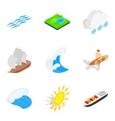 Nautical icons set isometric style vector