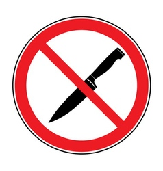 No Knife or No Weapon Sign vector image