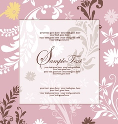 pink floral abstract invitation card vector image