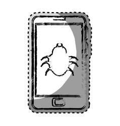 Sticker monochrome blurred with cell phone with vector