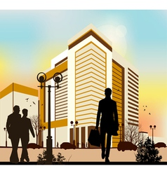 city silhouettes in yellow colors vector image