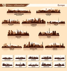 City skyline set europe silhouettes vector