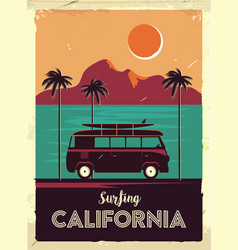 grunge retro metal sign with palm trees and van vector image vector image