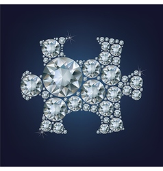 Puzzle piece made a lot of diamond vector image vector image