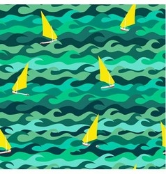 Seamless pattern made of sea waves and yachts vector image