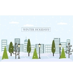 Chrismas winter flat landscape background New vector image
