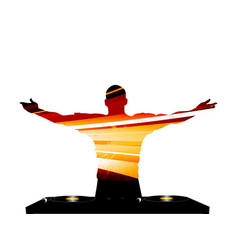 dj striped silhouette and record deck vector image vector image