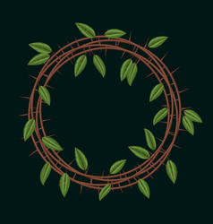 embroidery blackthorn branches and leaves frame vector image