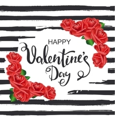 Happy Valentines Day Striped background with vector image vector image