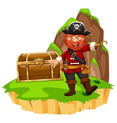 Pirate and wooden chest on island vector image vector image
