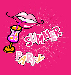 summer party poster with lips vector image vector image