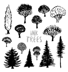 Trees silhouette Inked hand drawn isolated vector image vector image