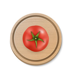 3d realistic juicy tomato on a round vector image