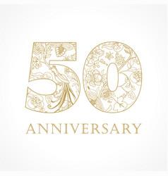50 anniversary vintage logo vector image