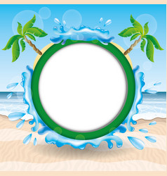 a round frame with palm trees vector image