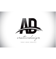 ad a d letter logo design with swoosh and black vector image