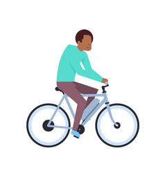African boy riding electric bike over white vector