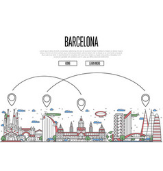 Air travel to barcelona poster in linear style vector