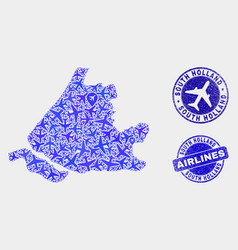 aircraft collage south holland map and vector image