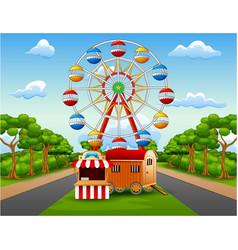 Amusement park with nature landsca vector