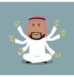 Arabian businessman with many hands vector