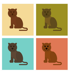 Assembly flat icons nature cartoon panther vector