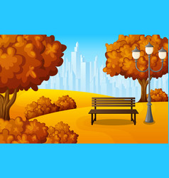 autumn city park bench with lantern and town build vector image