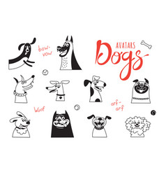 Avatar dogs funny lap-dog happy pug cheerful vector