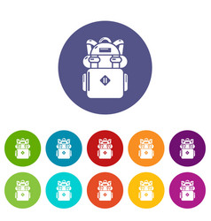 Backpack hiking icons set color vector