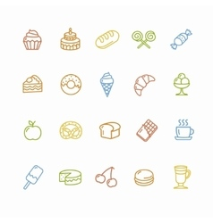 Bakery and Pastry Colorful Icons Set vector