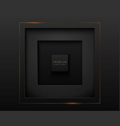 Black abstract square paper cut luxury vector