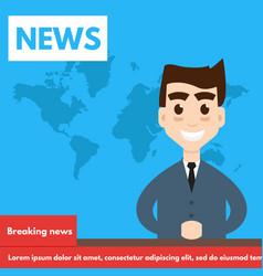breaking newstv screen layout vector image