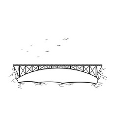 Bridge over the river vector