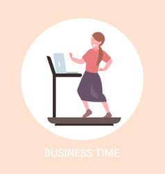 businesswoman using laptop running on treadmill vector image