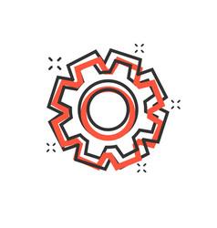 Cartoon gear icon in comic style cog wheel vector