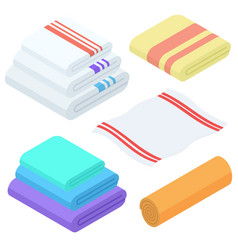 Cartoon isometric towels set cloth folded vector