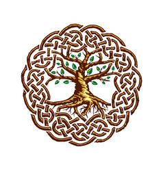 Celtic tree life with green leaves vector
