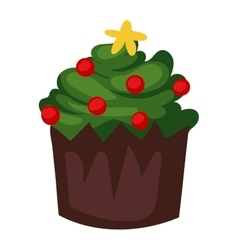 Christmas cake isolated icon vector