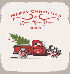 Christmas truck side view image old card vector