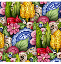 Colored seamless pattern with floral motifs vector
