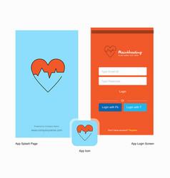 Company heart ecg splash screen and login page vector