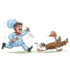 Cook with knife pursues frightened turkey Fun vector