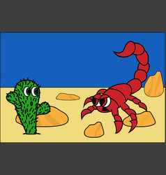 Cute cactus and angry scorpion in dessert stock vector