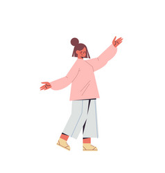 cute woman with raised hands up smiling girl vector image