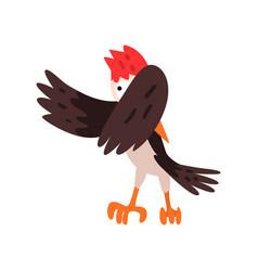 Cute woodpecker bird cartoon character flapping vector