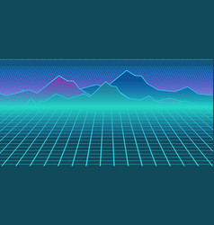cyberpunk retro computer background computer game vector image