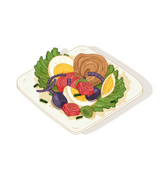 delicious salad with vegetables and fish on plate vector image