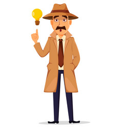 detective in hat and coat handsome character vector image