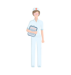 Doctor with a history of illness in his hands vector