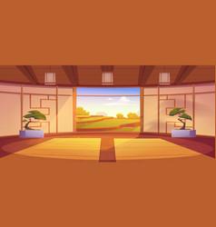 dojo room japanese style interior for meditation vector image